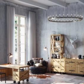 Деревянная мебель вдоль серой стены