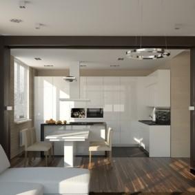 Прямоугольная арка в кухне-гостиной