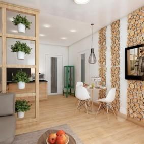 Кашпо с комнатными растениями в стеллаже из дерева