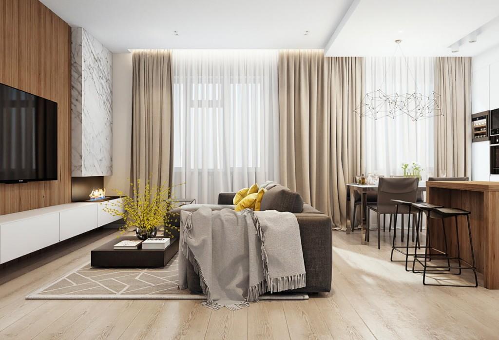 Зонирование современной кухни-гостиной с помощью дивана