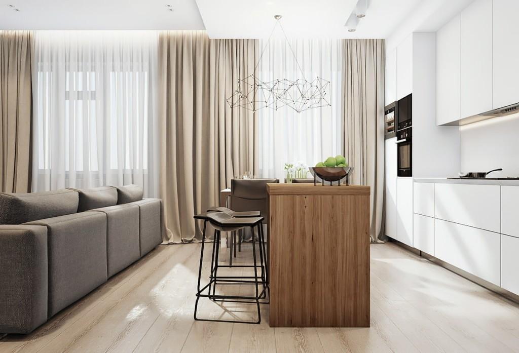 Современная кухня-гостиная с линейным гарнитуром