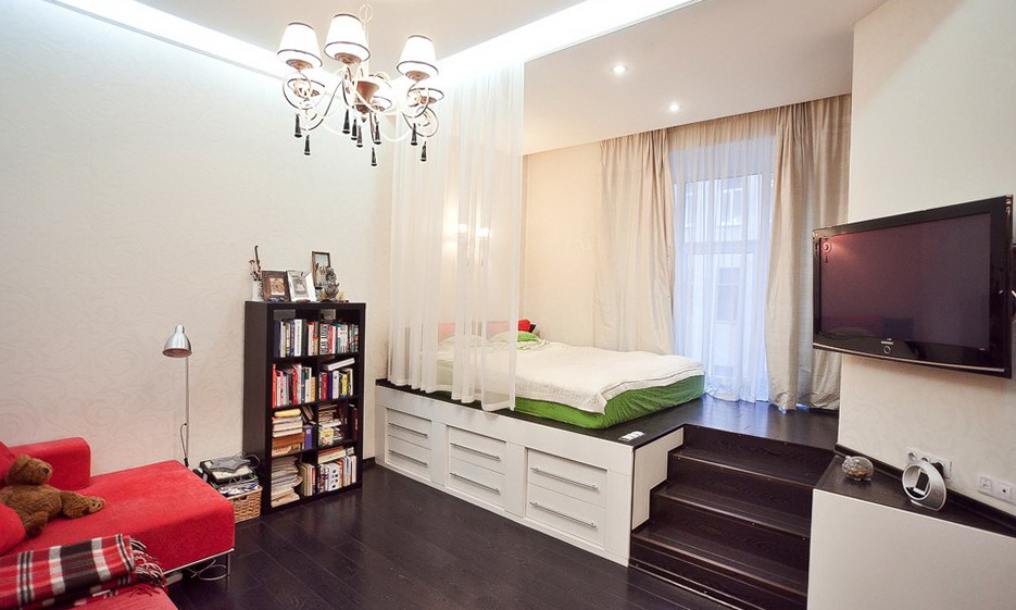 спальня гостиная 17 кв м дизайн идеи