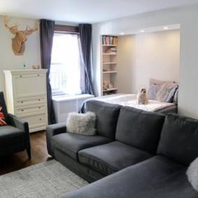 спальня гостиная 17 кв м идеи