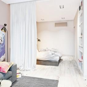 спальня-гостиная 18 кв.м. декор идеи