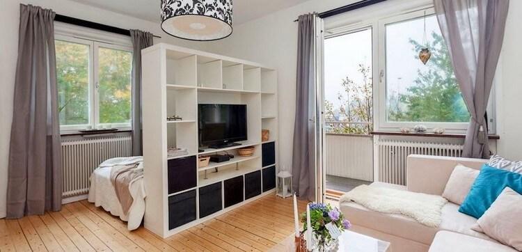 спальня-гостиная 18 кв.м. фото декора