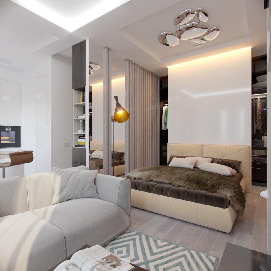 спальня-гостиная 18 кв.м. фото дизайна