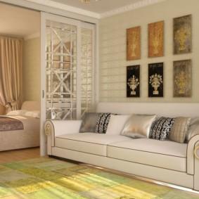 спальня-гостиная 18 кв.м. фото интерьер