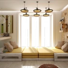 спальня-гостиная 18 кв.м. интерьер фото