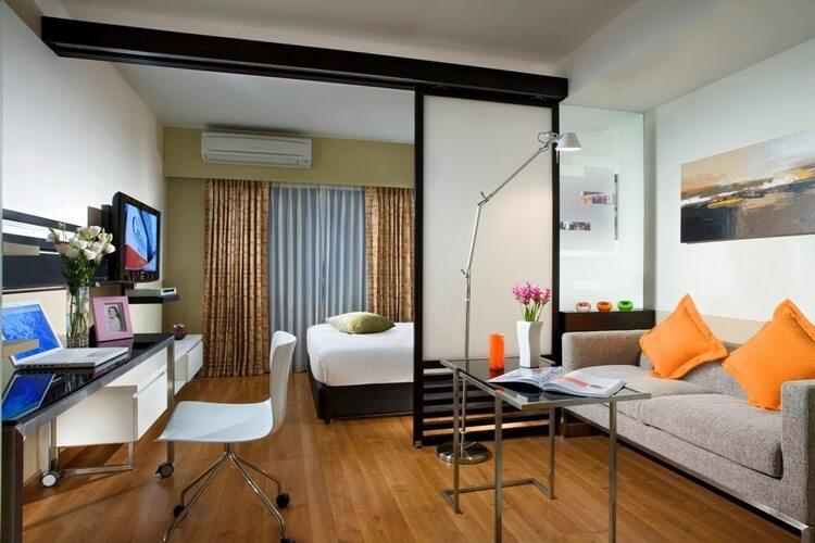 спальня-гостиная 18 кв.м. оформление фото
