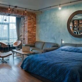спальня-гостиная 18 кв.м. лофт