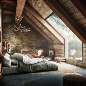 спальня на мансарде фото интерьер