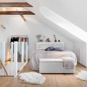 спальня на мансарде идеи интерьера