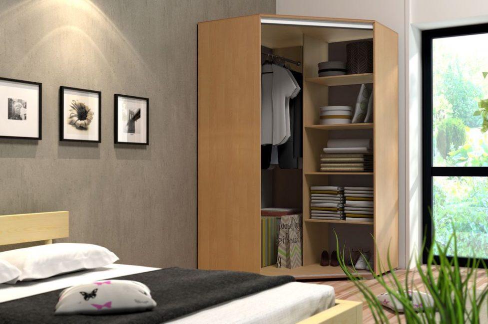 спальня с угловым шкафом купе декор идеи
