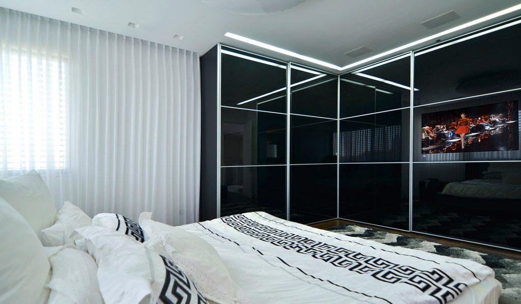 спальня с угловым шкафом купе декор