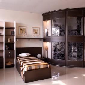 спальня с угловым шкафом купе оформление идеи