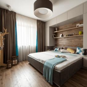 шкафы над кроватью в спальне интерьер