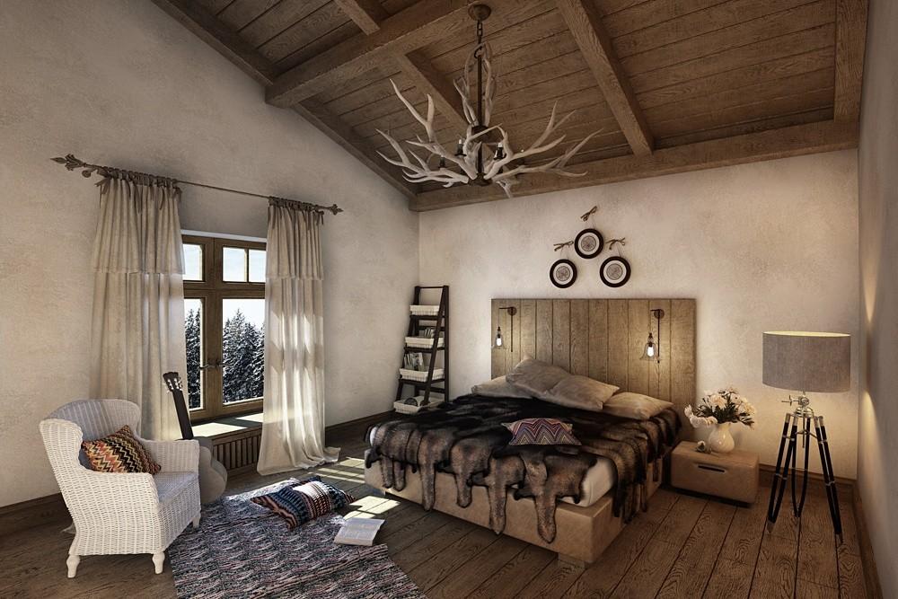 спальня в стиле шале дизайн интерьера