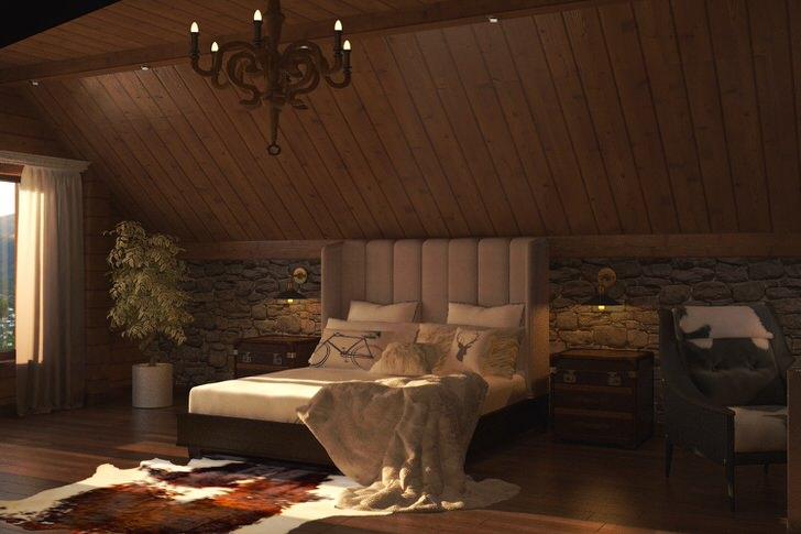 спальня в стиле шале фото идеи