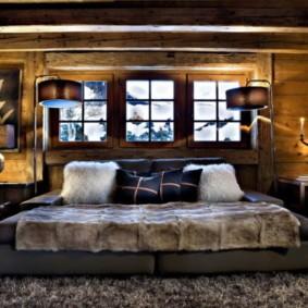 спальня в стиле шале интерьер