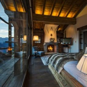 спальня в стиле шале интерьер фото
