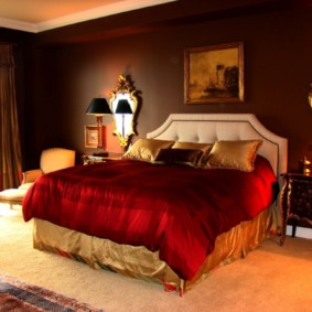 спальня в коричневых тонах фото интерьер