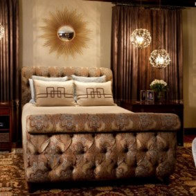 спальня в коричневых тонах оформление