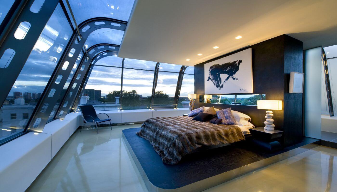 спальня в стиле хай тек оформление