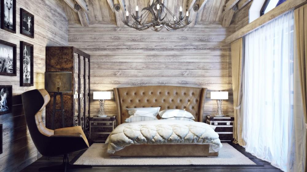 спальня в стиле шале декор фото