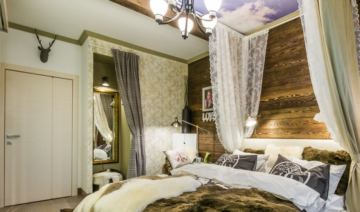 спальня в стиле шале дизайн