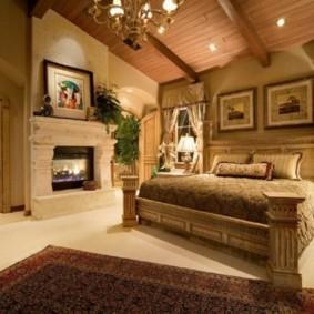 спальня в стиле шале фото интерьера