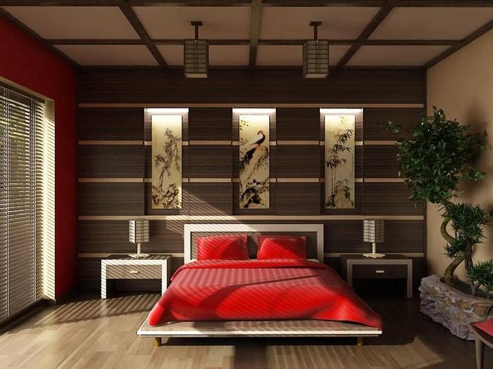 спальня в японском стиле фото интерьер