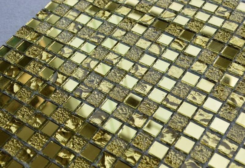 Стеклянная мозаика с имитацией золота для ванной комнаты