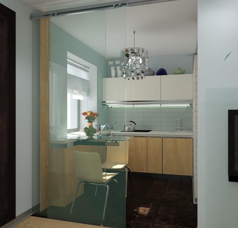 Сдвижная стеклянная дверь между кухней и гостиной