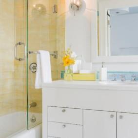 раздвижные шторки для ванной дизайн идеи