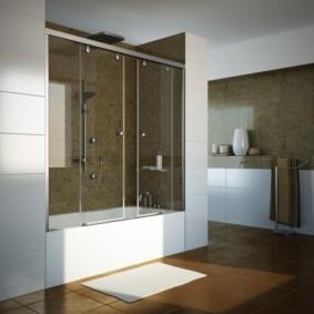 раздвижные шторки для ванной фото оформления