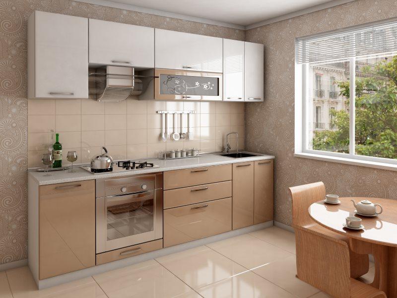 Кухонный фартук с бежевой плиткой