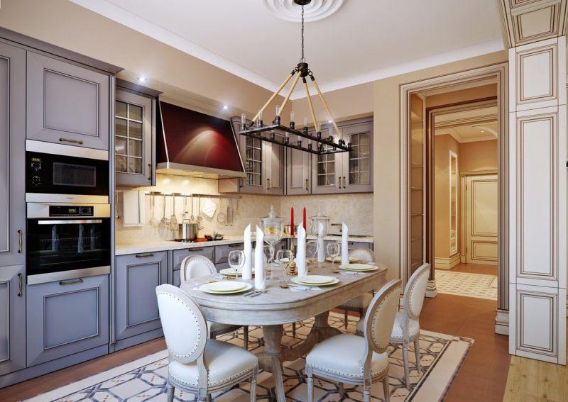 Спокойная цветовая гамма в интерьере кухни