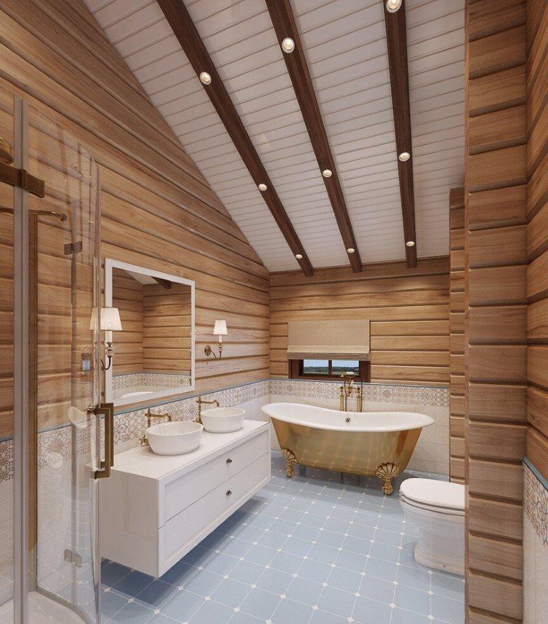 Точечные светильники на потолочных балках ванной в частном доме