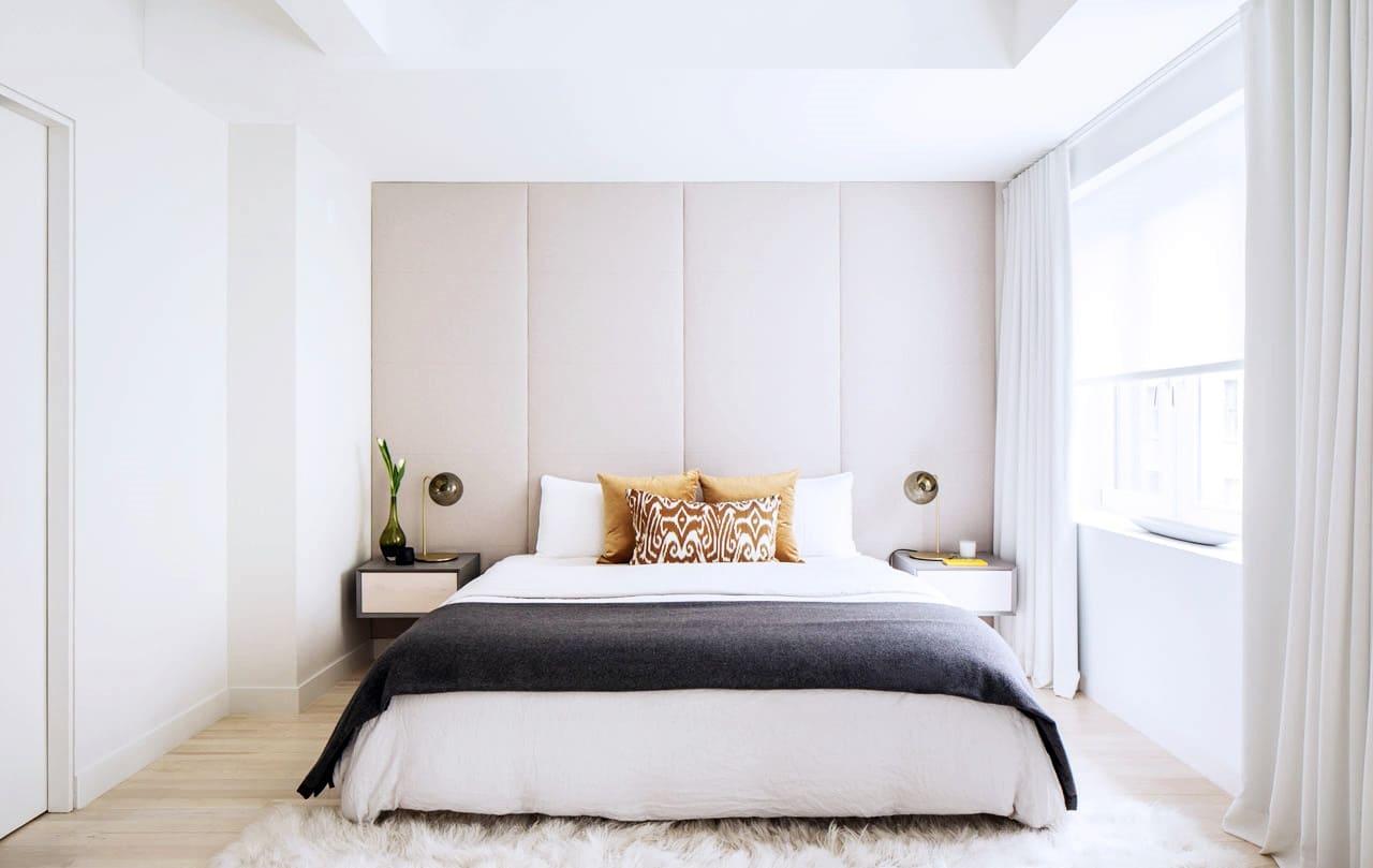 спальня в стиле минимализм текстиль