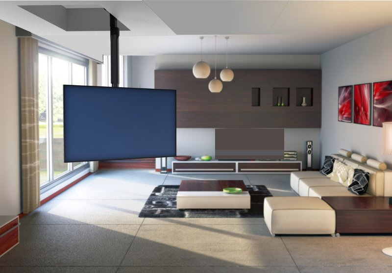 телевизор на кухне гостиной