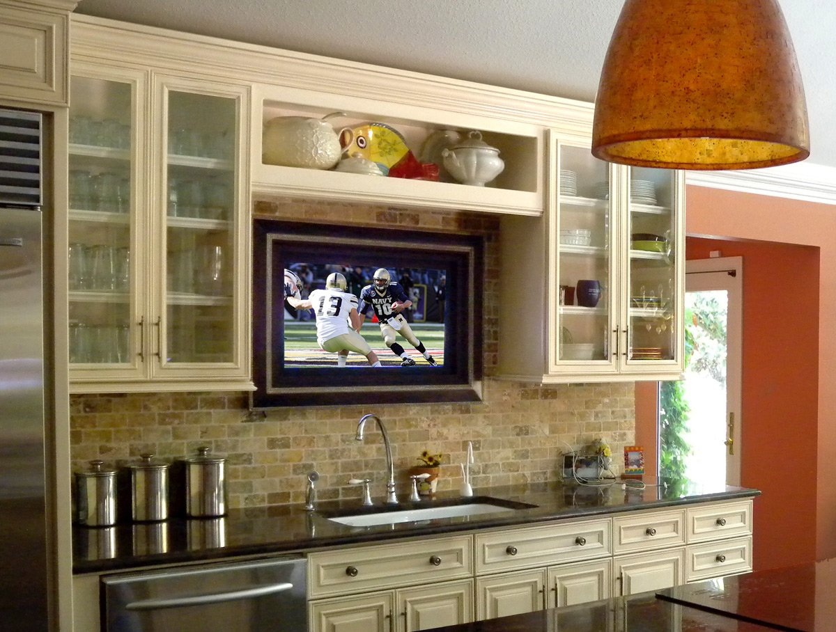 Где лучше расположить телевизор на кухне фото