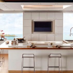 телевизор на кухне виды идеи