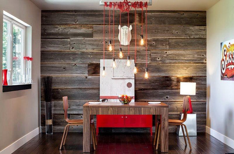 Зонирование современной кухни панелями с имитацией старого дерева