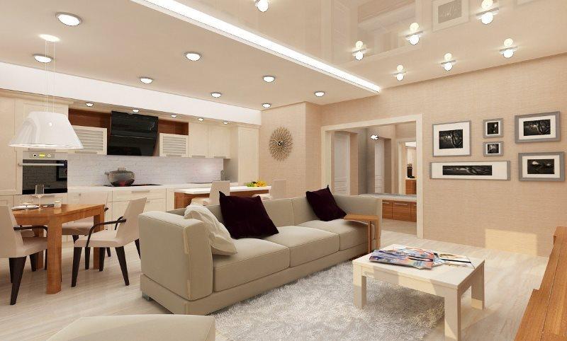 Освещение кухни-гостиной встроенными в потолок светильниками