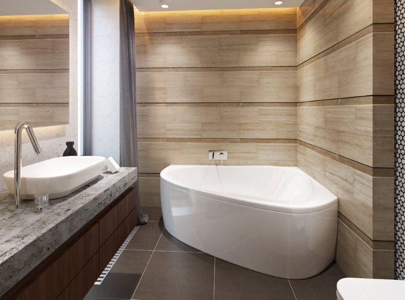 Белая ванна угловой формы на керамическом полу