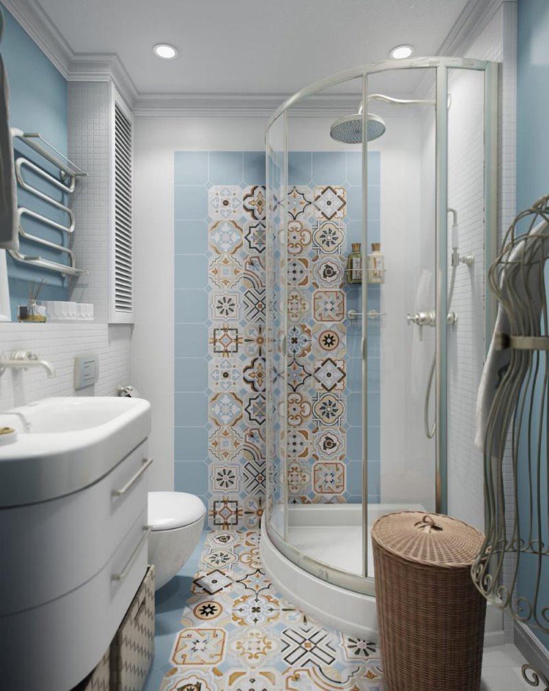 Душевая кабина углового типа в современной ванной комнате