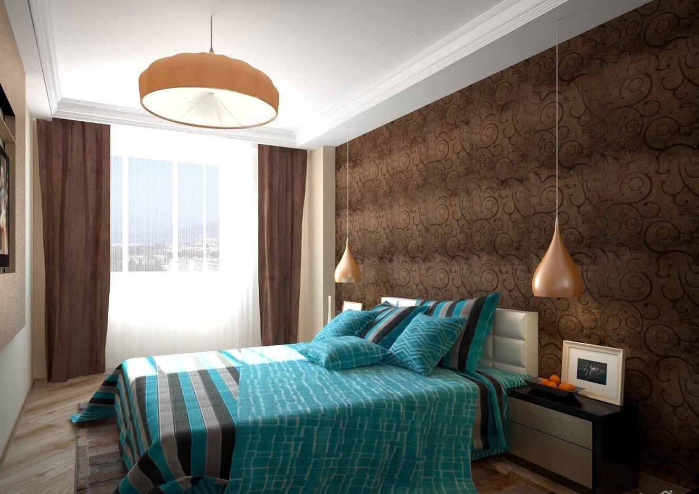 посадку спальня в голубо коричневых тонах дизайн фото емкость рассчитана