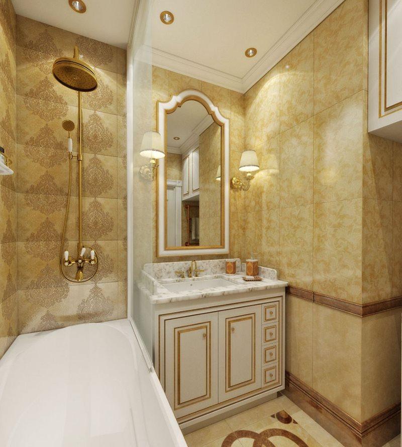 Интерьер маленькой ванной комнаты в стиле классики