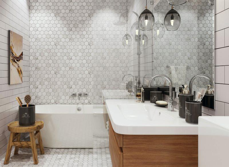Деревянная мебель в ванной скандинавского стиля