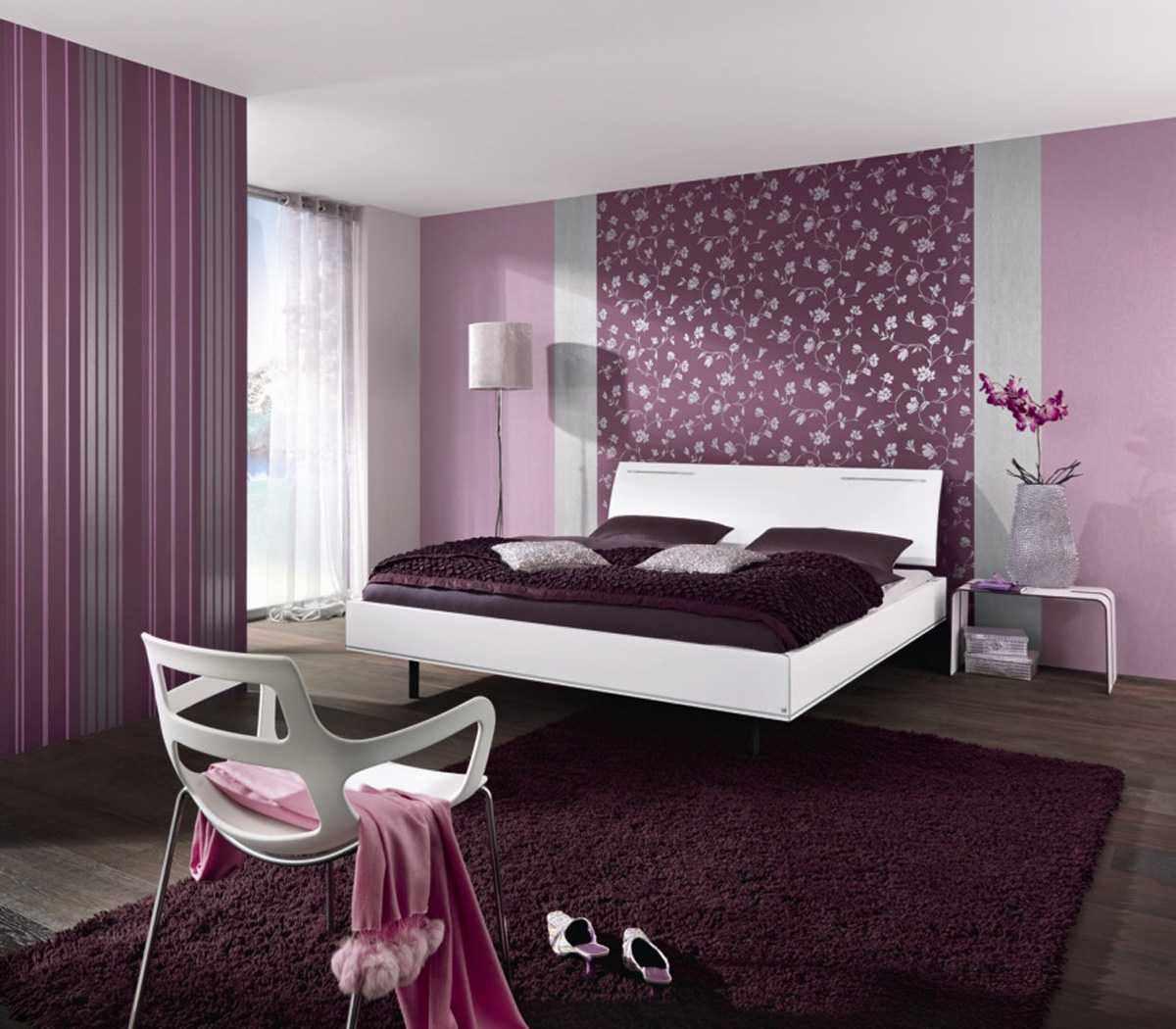 Сиреневые обои в спальне дизайн фото
